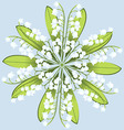Wreath of flowers of Lily on a blue background vector image vector image