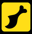 yellow black sign - gnawed chicken leg icon vector image vector image