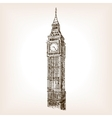 Big Ben tower hand drawn sketch style vector image