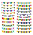 Colorful bunting flags and garlands Birthday vector image