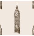 Big Ben hand drawn sketch seamless pattern vector image