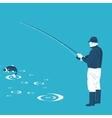 fisherman and fish vector image