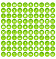 100 stationery icons set green circle vector image vector image
