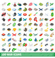 100 war icons set isometric 3d style vector image