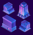 3d isometric buildings with neon vector image