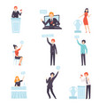 auction public sale set people bidding and bying vector image