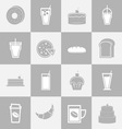 Bakery and drinks elements for coffee shop vector image