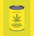 banner for legalize marijuana with canned cannabis vector image vector image
