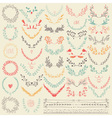 Big collection of hand drawn floral graphic design vector image vector image