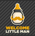 bottle mustache baby boy shower greeting card vector image
