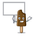 bring board chocolate ice cream character cartoon vector image vector image