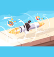 businessman flying on rocket vector image vector image