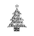 calligraphy lettering in christmas tree form with vector image vector image