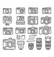 camera line icons set vector image vector image