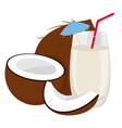 coconut and a glass of coconut milk vector image