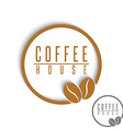 Coffee logo beans brown round cafe menu emblem vector image vector image