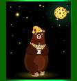 cute cartoon bear in sleeping hat with cup on vector image vector image