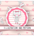 cute cat - cartoon seamless pattern vector image vector image