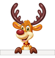 Cute deer holding blank sign Isolated vector image vector image