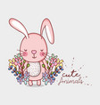 cute pink bunny doodle cartoon vector image vector image
