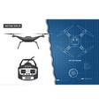 drawing of drone industrial blueprint vector image vector image