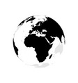 earth globe with black world map focused on vector image