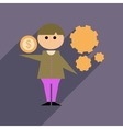 Flat web icon with long shadow businessman money vector image vector image
