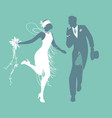 funny wedding couple dressed vintage style vector image vector image