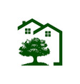 green rural house and tree realty logo vector image vector image