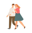 happy couple walking vector image vector image