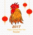 head rooster with chinese lanterns for happy vector image vector image