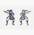 japanese samurai warriors with weapons sketch vector image vector image