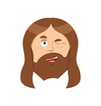 Jesus winks Good Christ Mimicry smile on face of vector image vector image