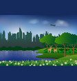 landscape with urban city and natureconcept of vector image vector image