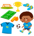 little boy playing soccer collection vector image