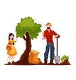 Man harvesting potato and woman picking apples vector image vector image