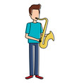 man playing saxophone character vector image vector image