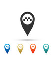map pointer with taxi icon on white background vector image
