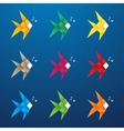 Multicolored origami fish vector image vector image
