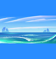 ocean sea waves with white foam nature landscape vector image vector image