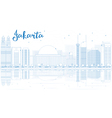 Outline Jakarta skyline with blue buildings vector image vector image
