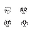 panda logo black and white head vector image vector image