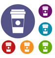 paper cup of coffee icons set vector image vector image