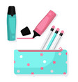 pencil case with pencils and markers vector image
