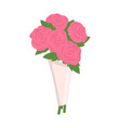 pink roses in wrapping flowers wrapped together vector image