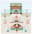 Restaurant and Cafe Set with Park vector image vector image