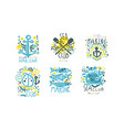 sea club logo design templates collection marine vector image vector image