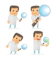 set of funny cartoon doctor vector image vector image