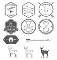 set vintage deer icons emblems and labels vector image