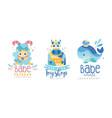 sheep whale toy shop creative logo design set vector image